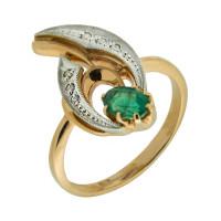 Золотое кольцо с бриллиантами и изумрудом ЗСК14000173