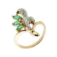 Золотое кольцо с бриллиантами и изумрудами ЗСК14000183