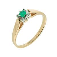 Золотое кольцо с бриллиантами и изумрудом ЗСК14000190