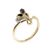 Золотое кольцо с бриллиантами и сапфиром ЗСК14000210