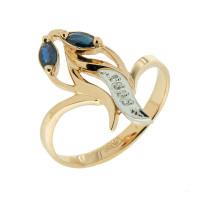 Золотое кольцо с бриллиантами и сапфирами ЗСК14000214