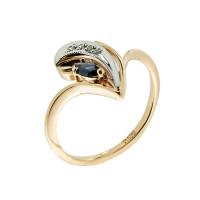 Золотое кольцо с бриллиантами и сапфиром ЗСК14000221