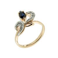 Золотое кольцо с бриллиантами и сапфиром ЗСК14000262