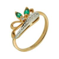 Золотое кольцо с бриллиантами и изумрудами ЗСК14001039