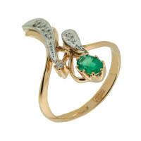 Золотое кольцо с бриллиантами и изумрудом ЗСК14001079