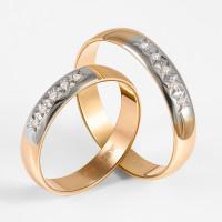 Золотое кольцо обручальное с бриллиантами ЗСК15000014