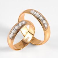 Золотое кольцо обручальное с бриллиантами ЗСК15000017