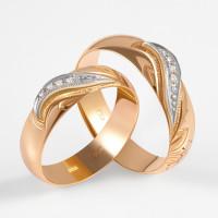 Золотое кольцо обручальное с бриллиантами ЗСК15000026