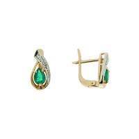Золотые серьги с бриллиантами и изумрудами ЗСС13010120