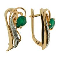 Золотые серьги с бриллиантами и изумрудами ЗСС13010147