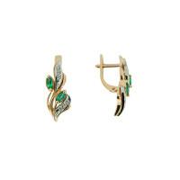 Золотые серьги с бриллиантами и изумрудами ЗСС14010102