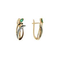 Золотые серьги с бриллиантами и изумрудами ЗСС14010104