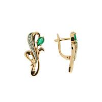 Золотые серьги с бриллиантами и изумрудами ЗСС14010120