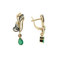 Золотые серьги подвесные с изумрудами и бриллиантами ЗСС14010136