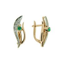 Золотые серьги с бриллиантами и изумрудами ЗСС14010153