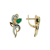 Золотые серьги с бриллиантами и изумрудами ЗСС14010162