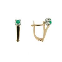 Золотые серьги с бриллиантами и изумрудами ЗСС14010190