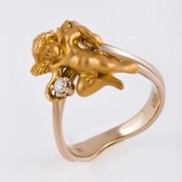 Золотое кольцо с бриллиантом ИА10430