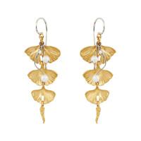 Золотые серьги подвесные с бриллиантами и жемчугом ИА21340