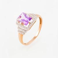 Золотое кольцо с аметистами и фианитами ЮПК1344743ам