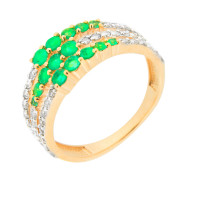 Золотое кольцо с бриллиантами и изумрудами ЮЫ2002800023349