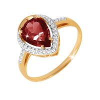 Золотое кольцо с гранатами и фианитами ЮПК1342598гр