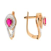 Золотые серьги с рубинами и бриллиантами ЮПС1332226рб