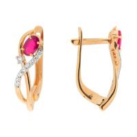 Золотые серьги с рубинами и бриллиантами ЮПС1332626рб