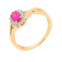 Золотое кольцо с рубиным и бриллиантами ЮПК1332149рб