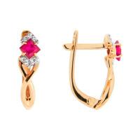 Золотые серьги с рубинами и бриллиантами ЮПС1332061рб