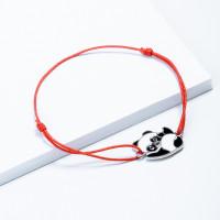 Серебряный браслет красная нить с эмалью ЮП1400411448