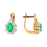 Золотые серьги с изумрудами и бриллиантами ЮПС1332204из