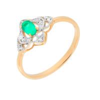 Золотое кольцо с изумрудом и бриллиантами ЮПК1332533из