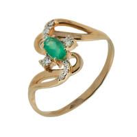 Золотое кольцо с изумрудом и бриллиантами ЮПК1331705из