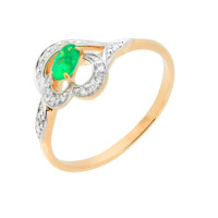 Золотое кольцо с изумрудом и бриллиантами ЮПК1333459из