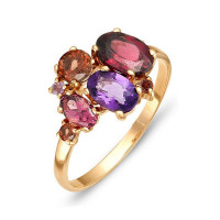 Золотое кольцо с аметистами, гранатами и родолитами ЮИК120-1366М11
