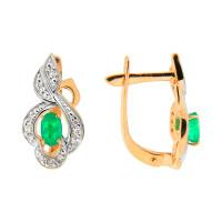 Золотые серьги с изумрудами и бриллиантами ЮПС1333459из