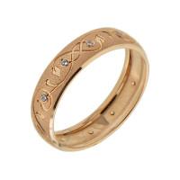 Золотое кольцо обручальное с сваровски