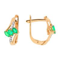 Золотые серьги с изумрудами и бриллиантами ЮПС1331715из