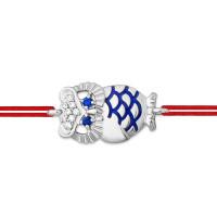 Серебряный браслет красная нить с фианитами и эмалью ЮП1410413922